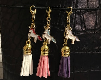 Unicorn Planner Charm Pink-Purple-White TN Travelers Notebook Charms Dangly Tassel 3""