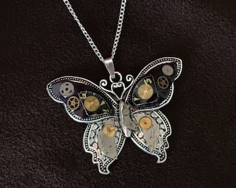 Steampunk Butterfly Pendant - Large Butterfly With Vintage Watch Parts on Midnight Blue Decoupage