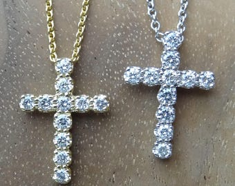 Small Diamond Cross Pendant 18k White or Yellow Gold