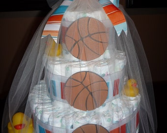 Sports diaper cake, basketball, football, soccer, baseball, customizable baby shower gift