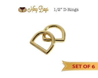 "Set of 6 // 1/2"" D-Rings for Straps, Purse Rings, Strap Rings, Handbag Hardware (Gold Finish)"