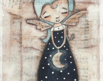Print of my Original Whimsical Mixed Media Moonlight Angel Painting - Midnight Blue