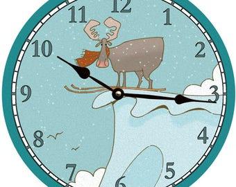 Ski Moose Clock- Moose Wall Clock- Ski Clock