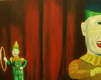 Original Oil On Canvas Circus Act