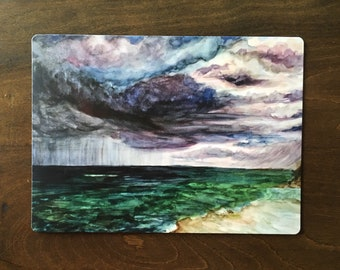 "5"" x 4"" magnet of watercolor storm off the shore of Marco Island, FL"