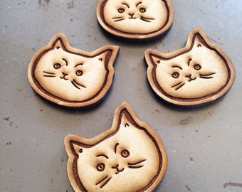 Cute cat wood magnet