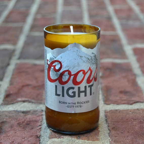 Coors Light beer bottle candle made with soy wax
