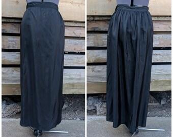 Vintage 1940's Black Taffeta Full Length Wiggle Skirt