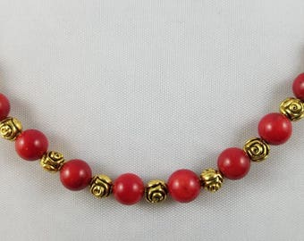 Red and Gold Rosette Beaded Necklace
