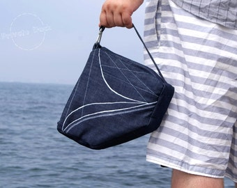 Nautical Handbag Yacht Nautical Art Design, sailor style - deep navy / white, embroidery. Spectacular gift!