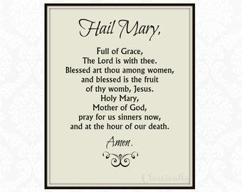 Hail Mary Prayer Printable, Catholic Rosary Prayer Print, Instant Download