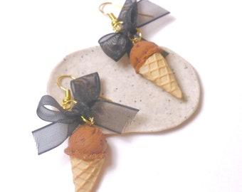 Earrings - polymerclay chocolate ice cream cone