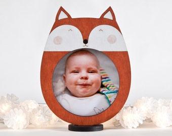 New Mom Gift, Fox Picture Frame, Orange Nursery Decor, Baby Shower Gift, Newborn Gift, Baby Room Decor, Wooden Children Frame, Fox Decor