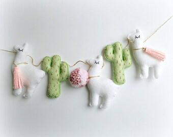 Llama Cactus garland bunting banner decor mobile cacti alpaca