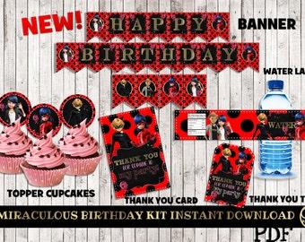 MIRACULOUS LADYBUG birthday printable, miraculous ladybug party, miraculous birthday party, miraculous party supplies, miraculous