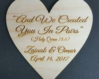 """100 Wedding Favor, 3"""" Wedding Favor Magnets, And we created you in pairs, Islamic Wedding Magnet -Bride, Groom, Gift"""