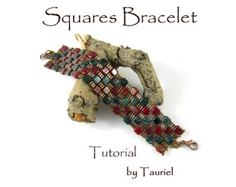 Squares beadwoven bracelet pdf tutorial