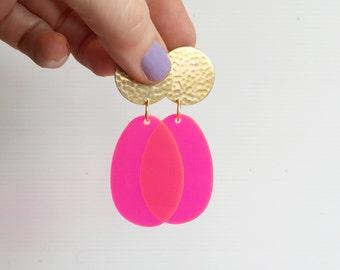 Brass Drop Neon Pink Earrings