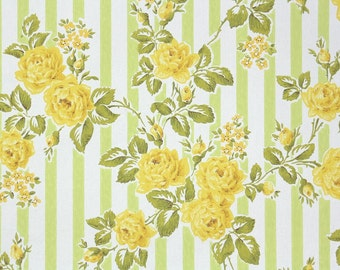 1960s Vintage Wallpaper by the Yard - Floral Wallpaper with Yellow Roses on Green and White Stripe