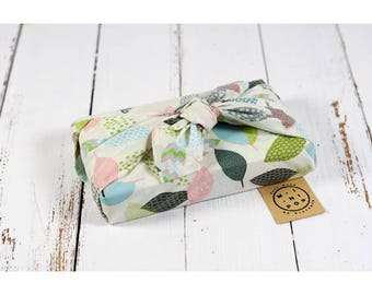 Furoshiki in organic cotton GOTS pastel leaves zero packaging waste, durable, eco-friendly, reusable, 50 x 50 cm.