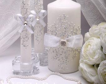Unity candle Silver Unity candle set Wedding unity candle Personalized unity candle Ceremony unity candles set Silver Wedding Unity Candle