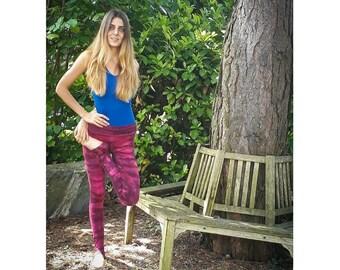 Messy Magenta Zebra Yoga Leggings / Tie Dye Yoga/ Leggings/ Big waistband leggings