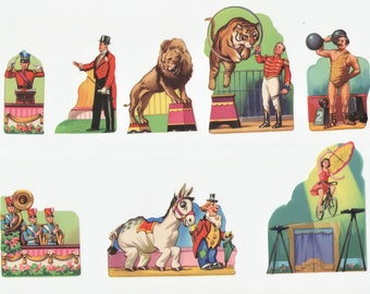 1950's Vintage Decals Circus Performers Set of 8 Pieces