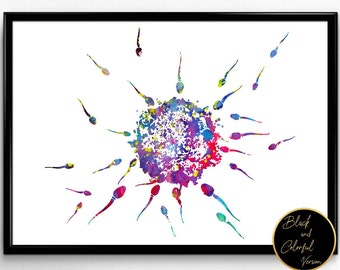 Sperms and Egg, Watercolor Print,Human fecondation print, spermatozoa floating to ovule poster,biology art, print, biology poster(1312)