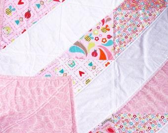 "Sale - Baby Girl Quilt - Modern Baby Quilt - Baby Blanket - Pink Baby Quilt - Crib Quilt - Baby Girl Blanket - Baby Bedding 38"" x 38"""