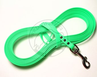 "Neon Apple Green -   Waterproof Long Line - 1/2"" (12mm) wide Genuine Biothane - Tacking Recall Leash - Choice of hardware and length"