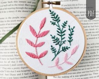 Beginner Embroidery Pattern Botanical Leaves Hand Embroidery PDF