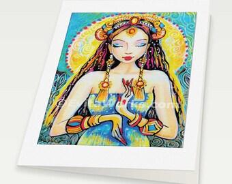 Quan Yin Praying Indian woman spiritual painting altar goddess art Indian decor, woman card, blank art card, 6x8