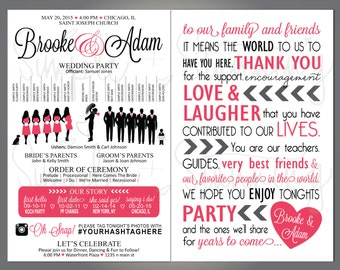 "Silhouette Wedding Party Program, Fun Wedding Program, Thank You, Wedding Party, Silhouette Front and Back Custom, 5.5""x8.5"""