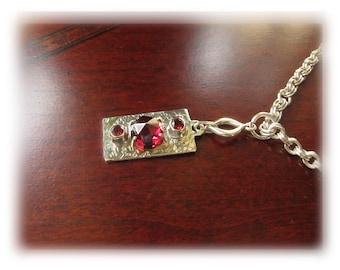 SALE - Silver Garnet Necklace, Silver Dog Tag Necklace