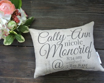 Birth Announcement Pillow, Personalized Name Pillow, Baby Shower Gift, Personalized Baby pillow, Nursery Pillow, Custom Baby Pillow, Nursery