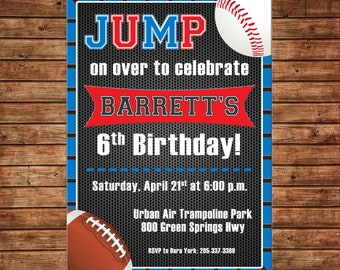 Boy Invitation Trampoline Park Sports Baseball Football Birthday Party - Can personalize colors /wording - Printable File or Printed Cards