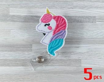 Set 5pcs Unicorn Horse Badge Reels Retractable Badge Badge Pull Badge Clip Nurse Badge Reel ID Badge Holder RN Badge Reel