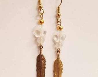 Gold feather and glass dangle earrings
