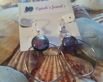 Circle of Many Colors Dichroic Glass Earrings (003)