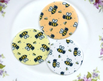 Edible Bumblebee Chintz Honey Bee Orange Yellow White Circles Wafers Paper Summer Spring Cake Decorations Cupcake Biscuit Cookies Topper RTD