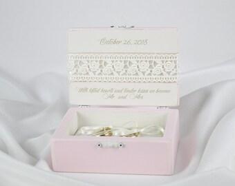 Wedding Ring Box, Ring Bearer Box, Pink Ring Box, Personalized Ring Box