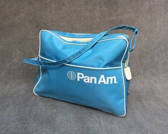 60's Pan Am Flight Bag Nylon Light Blue Travel Tote Bag with Shoulder Strap, Front Pocket and Zip Closure