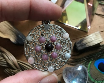 Flower of Life Necklace // Morganite, Lepidolite, and Garnet Crystal Grid Necklace // Sacred Geometry Necklace