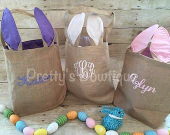 Burlap Bunny Basket-- Personalized Easter Basket -- Bunny Ears  Bucket  -- Children's Easter Bucket -- Easter Pail personalized