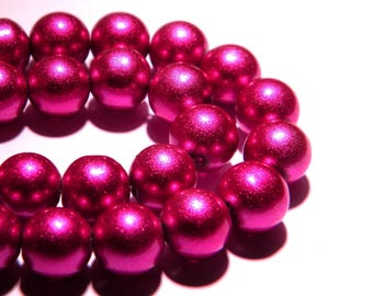 shiny satin glass - 10 mm-bright fuchsia - PG101 10 beads