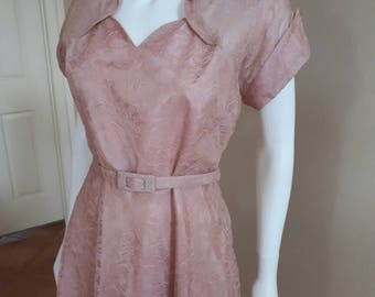 Vintage 1950s Blush Pink Lace 50s Pretty Prom Party Dress