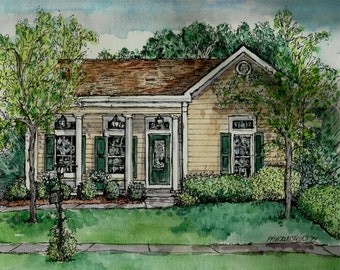 House Portraits,Pen and Ink,Watercolor,original portrait of your home by artist Patty Fleckenstein