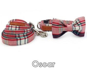 The Oscar Plaid Print Dog Bowtie & Collar inc Matching Leash Free Shipping
