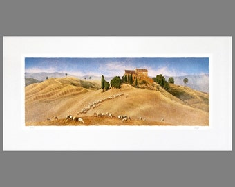 Any Tuscan 16 x 32 Matted Panoramic Fine Art Print (Le Crete shown)