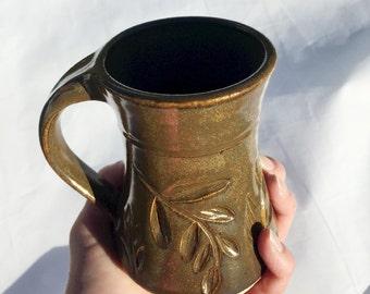 Brown Locust Leaf Pottery Mug 10 ounce Handmade by Daisy Friesen